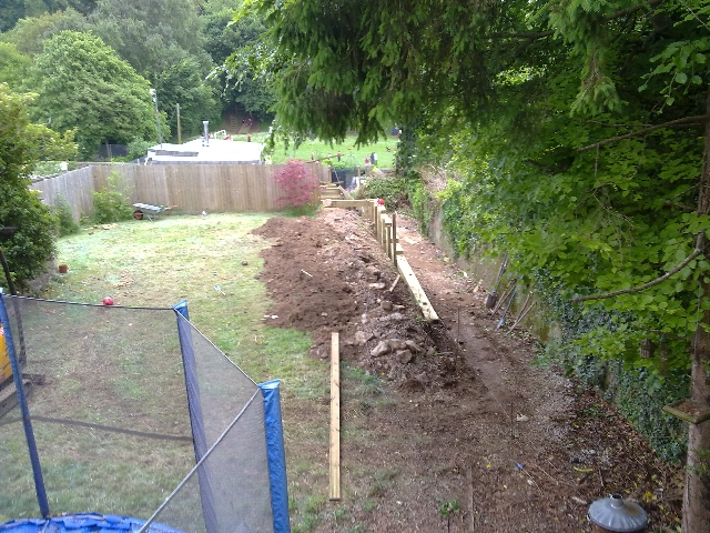 Garden During Construction of Retaining Wall.