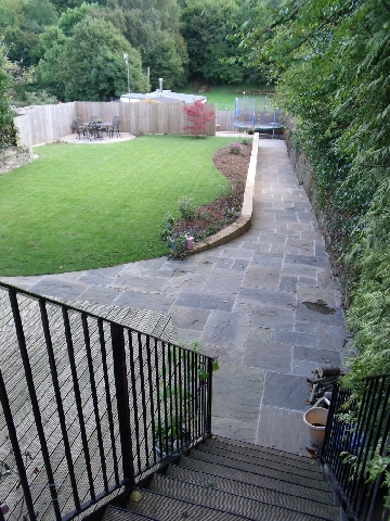 Garden After Construction of Retaining Wall and Path.