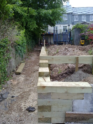 View from Lower Garden During Construction of Retaining Wall and Path.