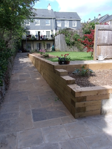 View from Lower Garden After Construction of Retaining Wall and Path.