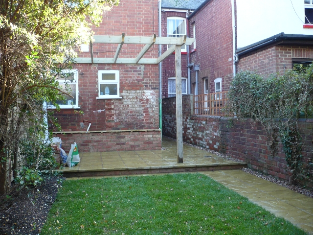 turfed lawn and patio